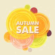 Autumn sale with circles, grunge drawn label Stock Illustration