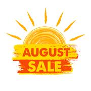 August sale with sun sign, yellow and orange drawn label Stock Illustration