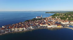4K. Flight over old city Piran in Slovenia, aerial panoramic view. Stock Footage