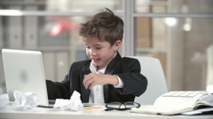 Frustrated Business Child Stock Footage