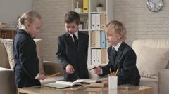 Business Children Sharing Ideas Stock Footage