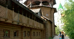 A fragment of a wooden tower in the style of Russian art Stock Footage