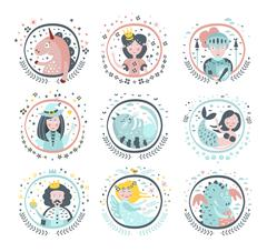Fairy Tale Heroes Girly Stickers In Round Frames Stock Illustration