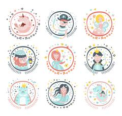 Fairy Tale Characters Girly Stickers In Round Frames Stock Illustration