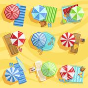 Sandy Beach From Above With Umbrellas And Sunbeds - stock illustration