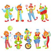 Set Of Colorful Friendly Clowns In Classic Outfits Stock Illustration