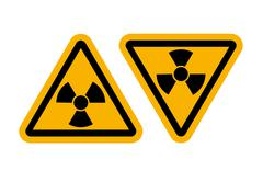 Radiation signs with glossy yellow surface Stock Illustration