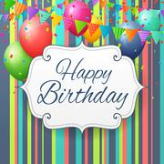 Birthday greeting card with balloons and flags Piirros