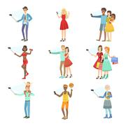 People Taking Picture With Selfie Stick Set Of Illustrations Stock Illustration