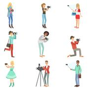 People Taking Pictures With Photo And Video Cameras Stock Illustration