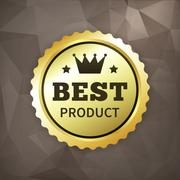 Best product business gold label on crumple paper Stock Illustration