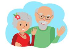 Happy senior couple waving his hand. Vector drawing in the cloud communication Stock Illustration