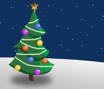 Christmas tree in a snowy landscape Stock Illustration