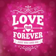 Love you forever typography greeting card background Piirros