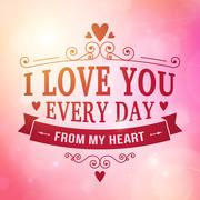 Valentine and wedding typography greeting card background - stock illustration