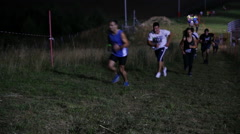 The participants of the race Night 10 overcome the distance Stock Footage