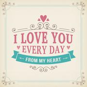 Valentine and wedding typography greeting card vintage curl background Stock Illustration