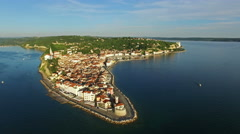 4K. Flight over old city Piran, aerial panoramic view. Slovenia. Stock Footage