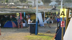 Camping of a festival sound or concert at sunset. Stock Footage