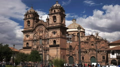 Exterior view of the church of the society of jesus in the city of cusco Stock Footage
