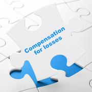 Banking concept: Compensation For losses on puzzle background Stock Illustration