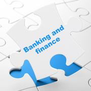 Money concept: Banking And Finance on puzzle background Stock Illustration