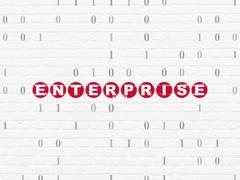 Finance concept: Enterprise on wall background Piirros