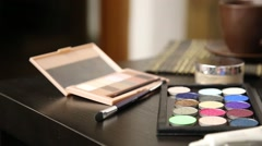 Accessories for make-up prepared for a work Stock Footage
