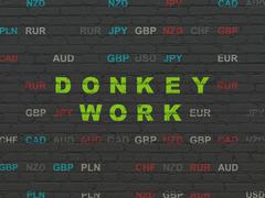 Finance concept: Donkey Work on wall background - stock illustration