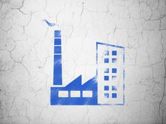 Business concept: Industry Building on wall background Stock Illustration