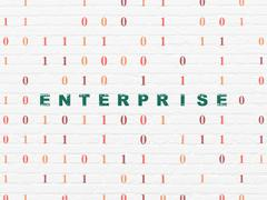Business concept: Enterprise on wall background Piirros