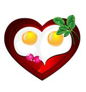 Lovely heart omelette Stock Illustration