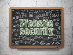 Web design concept: Website Security on School board background - stock illustration