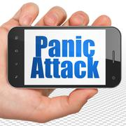 Healthcare concept: Hand Holding Smartphone with Panic Attack on display Stock Illustration