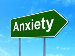 Healthcare concept: Anxiety on road sign background Stock Illustration