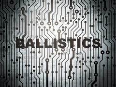Science concept: circuit board with Ballistics Stock Illustration