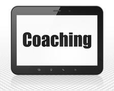 Studying concept: Tablet Pc Computer with Coaching on display Stock Illustration