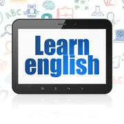 Learning concept: Tablet Computer with Learn English on display Stock Illustration