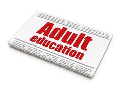 Learning concept: newspaper headline Adult Education Stock Illustration