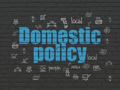 Politics concept: Domestic Policy on wall background - stock illustration