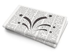 Holiday concept: Fireworks on Newspaper background - stock illustration