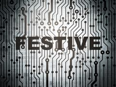 Holiday concept: circuit board with Festive Stock Illustration