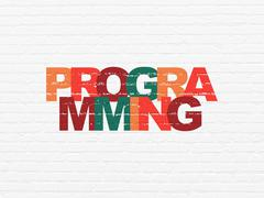 Programming concept: Programming on wall background Stock Illustration