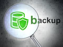 Software concept: Database With Shield and Backup with optical glass - stock illustration