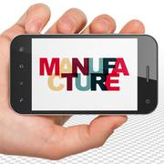 Industry concept: Hand Holding Smartphone with Manufacture on  display Stock Illustration