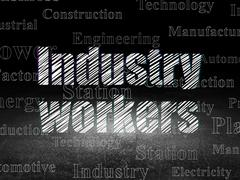 Industry concept: Industry Workers in grunge dark room Stock Illustration