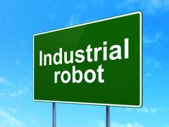 Industry concept: Industrial Robot on road sign background Piirros