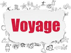 Vacation concept: Voyage on Torn Paper background - stock illustration