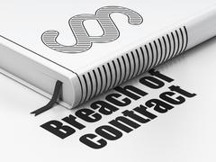 Law concept: book Paragraph, Breach Of Contract on white background - stock illustration