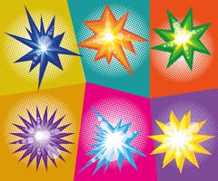 Vector set of abstract explosions in comic pop art style. Design elements Stock Illustration